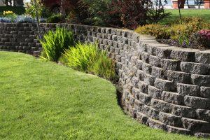 Landscaped Wall Of Cement Cobblestone Bricks